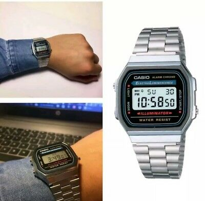 CASIO Retro Classic Unisex Digital Steel Bracelet Watch- A168WA-1YES Silver UK