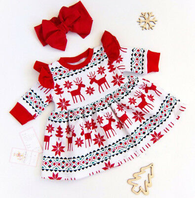 UK Christmas Kid Baby Girl Clothes Deer Fly Sleeve Princess Party Dress 2PCS Set