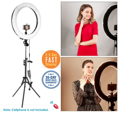 "Ring Light With Stand Dimmable LED 18"" Camera Lighting Kit & Bluetooth Receiver"