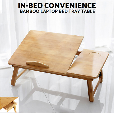 Portable Folding Laptop Desk PC Lap Bed Tray Dinner Notebooks Bamboo Table Stand