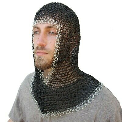 Butted Chainmail V neck Coif/ Hood for Hauberk 10 mm Medieval Knight Coif