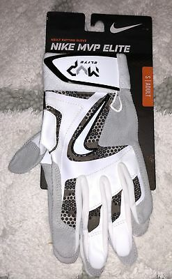 NIKE MVP Elite White Grey Black Baseball Batting Gloves NEW Mens Sz S