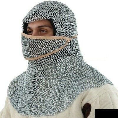 10 mm Butted Chainmail Coif Ventail (Right to left) for Men and Women.