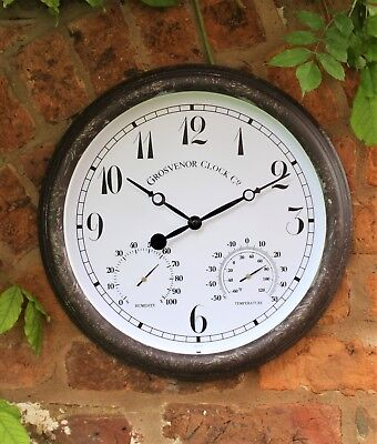 Outdoor Garden Wall Clock Thermometer Humidity Meter 38cm rust colour Arabic