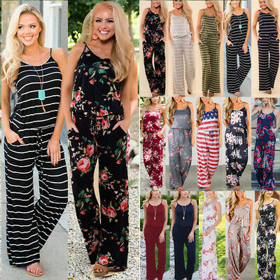 Womens Floral Holiday Long Playsuits Beach Jumpsuit Loose Strappy Rompers Pants