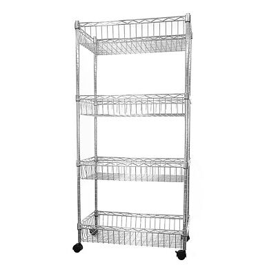 124x60x35cm Real Chrome Wire Rack Metal Steel Kitchen Shelving Racks Caster UKDC