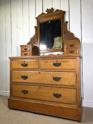 Edwardian Dressing Table With Swing Mirror. Solid Wood Antique Chest of Drawers