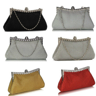 Womens Ladies New Glitter Sparkling Satin Handbag Evening Party Clutch Bag Purse