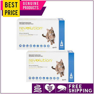 Revolution for Cats 2.6 to 7.5 Kg BLUE 12 Doses Flea Heartworm Control by Zoetis
