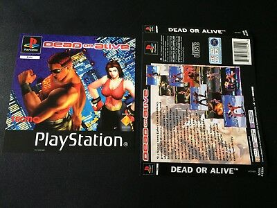 Dead Or Alive Inserts Front & Back - Sony PlayStation PS1 - Free Postage