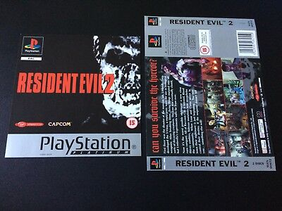 Resident Evil 2 Platinum Inserts Front & Back - Sony PlayStation PS1 - Free Post