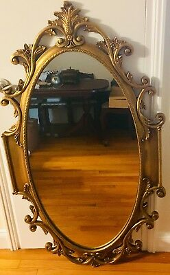 Vintage Wall Mirror Oval Gold Quilt Wood