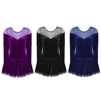New Womens Ice Figure Skating Dress Velvet Mesh Splice Skirt Gymnastics Leotard