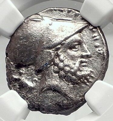 METAPONTION Metapontum in LUCANIA Silver 340BC Greek Coin w LEUKIPPOS NGC i72345