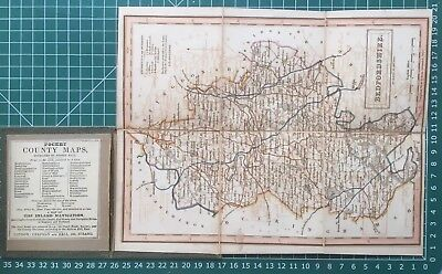 1830 Antique Folding Pocket County Map of Bedfordshire - Chapman & Hall