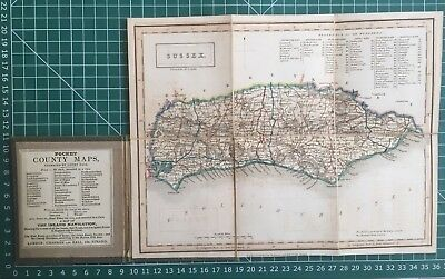 1830 Antique Folding Pocket County Map of Sussex - Chapman & Hall