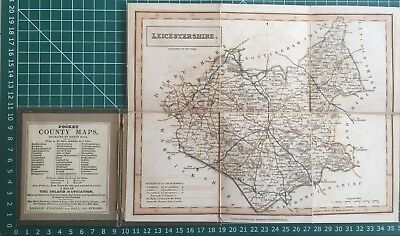 1830 Antique Folding Pocket County Map of Leicestershire - Chapman & Hall