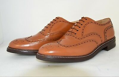 MAN-8½eu-9½us-OXFORD WINGTIP -FRANCESINA- TAN CALF-VITELLO-RUBBER SOLE