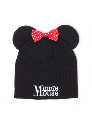 Disney Minnie Mouse Ears And Bow Costume Styled Beanie Hat (Official)