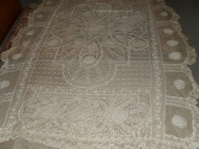 "Antique Victorian Normandy Lace Tablecloth  87"" x 72"" (lace2)"