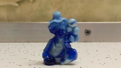 mosser glass pee wee clown with balloons cobalt blue slag (h) figurine