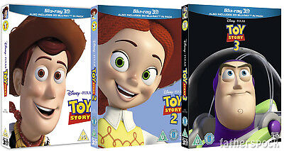 TOY STORY 1-3 Trilogy [Blu-ray 3D + 2D] Complete Disney Pixar Movie Set 1 2 3