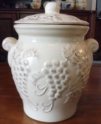 Nonni's Hand Painted Ceramic Biscotti Cookie Jar Canister with Grape Design