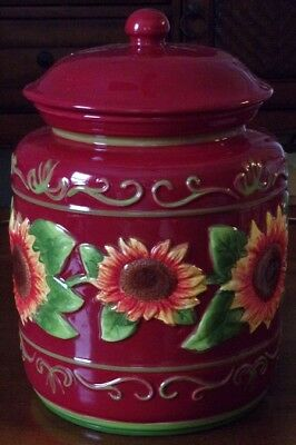 Nonni's Hand Painted Ceramic Biscotti Cookie Jar Canister with Sunflower Design