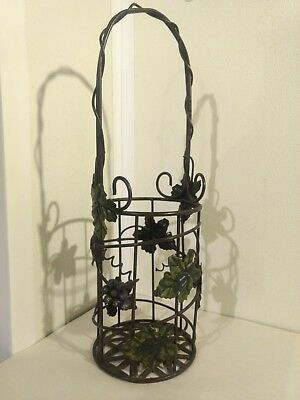 Wine Bottle Holder Basket Style Metal Frame Grapes Ivy Decorative 14""