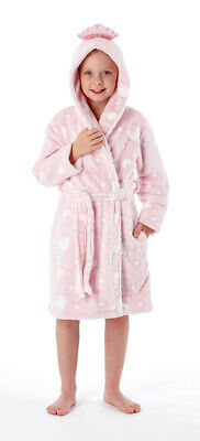 i-Smalls Girl's Princess Dream Hooded Bath Robe Dressing Gown (Pink) 5-6