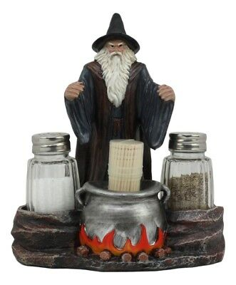Wizard Salt Pepper and Toothpick Holder Set w/ Shakers & Toothpicks Included