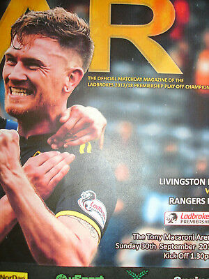 LIVINGSTON v RANGERS 30/9/2018 PROGRAMME
