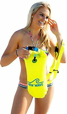 New Wave Swim Buoy - Swim Safety Float and Drybag for Open BUOY-15L-PVC-Yellow
