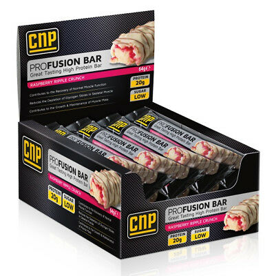 CNP Pro Fusion Protein Bars x 12 High Protein Low Sugar Raspberry Dated 21/11/18