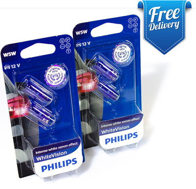 X2 NEW Philips W5W T10 White Vision 12961NBVB2 Halogen Signal and Interior bulbs