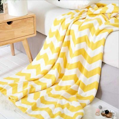 Yellow Nordic Cotton Knitted Blanket Yarn Bulky Throw Soft Warm Home Rug Carpet