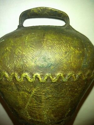 ANTIQUE European Bronze / Brass LARGE Cow Bell BEAUTIFUL PATINA 1940's-1950's