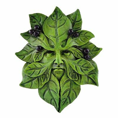 Blueberry Greenman Face Wall Plaque (4585) 4.75 Inch Hand Painted Resin