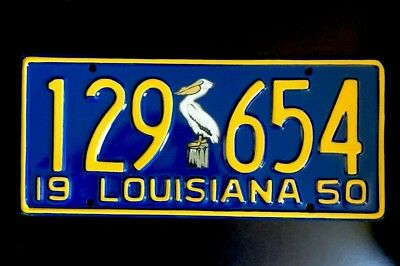 1950 Louisiana License Plate - Restored- Bird Decal