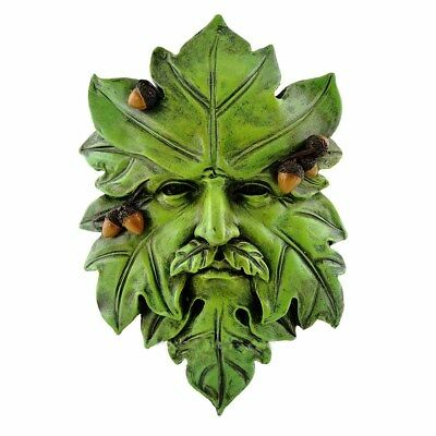 Acorn Greenman Face Wall Plaque (4586)  5 x3.5  Inch Hand Painted Resin