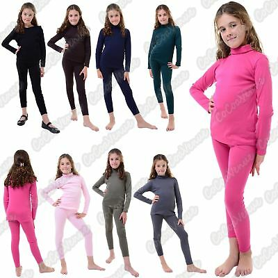 New Girls Kids Polo Turtle Neck 2 Piece Top Bottom Set Loungwear Plain Tracksuit