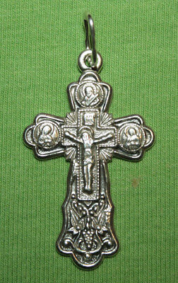 Vintage Crucifix 925 Silver Cross Pendant Orthodox Crosses Collecting #42