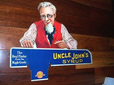 1930's? Uncle Johns Syrup Display Store Advertising Placard