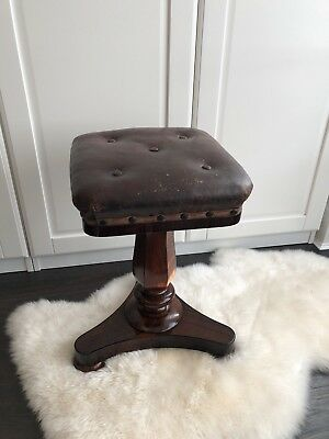 Antique Victorian Rosewood Adjustable Piano Stool - RARE Square Leather Seat