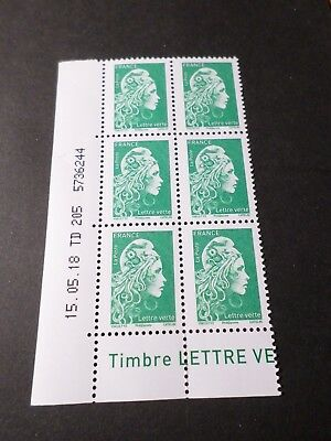 FRANCE 2018 COIN DATE' TIMBRE MARIANNE L ENGAGEE VERTE, neufs**, VF MNH STAMPS