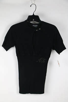Armani Exchange Black Short Sleeve Ribbed Waist Knit Top M