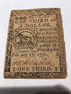 "Colonial Currency-Fugio Note By Ben Franklin 1/3 dollar RARE style ""B"" note 1776"