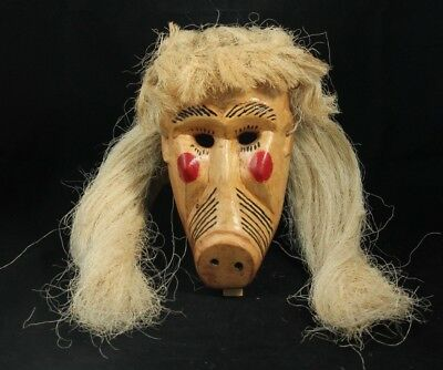 Wood Hanging Mask Mexico Folk Art Hand Crafted/Painted Collectible Pig Lrg