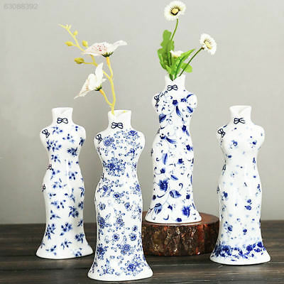 567C Blue White Porcelain Cheongsam Vase Flower Blossom Sculpture Statue Ceramic