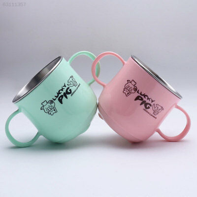 3F03 Stainless Steel Dual Ears Lovely Glass Mug Heat Insulation Anti-Scald